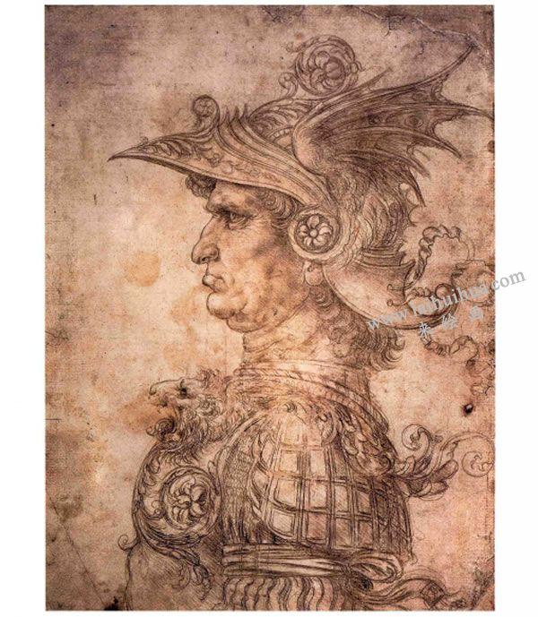 达芬奇《戴头盔和护胸甲的战士侧面》素描高清大图01