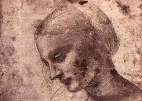 达芬奇《女子头部习作》素描高清大图欣赏