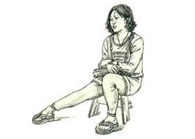 人物速写坐姿的画法步骤(一)