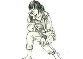 人物速写坐姿的画法步骤(二)