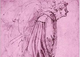 米开朗基罗《两个俯身向前的男人》素描高清大图欣赏