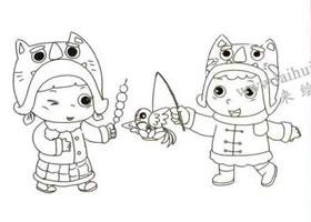 过春节了儿童线描画法