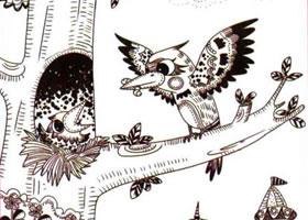 啄木鸟儿童线描画法