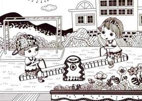 跷跷板儿童线描画法步骤
