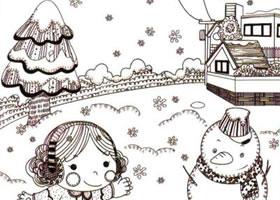 堆雪人儿童线描画法