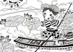 采莲子儿童线描画法