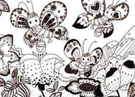 采蜜的花蝴蝶儿童线描画法