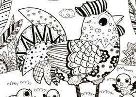 大公鸡儿童线描画法步骤