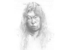 《女青年肖像》素描写生