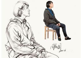 男性坐姿速写作品欣赏