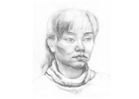 女青年头像素描画法(二)