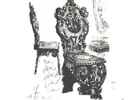 门采尔《雕花椅子》素描作品高清大图欣赏