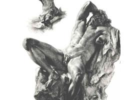 门采尔《仰卧的男子人体雕像》素描作品高清大图欣赏。