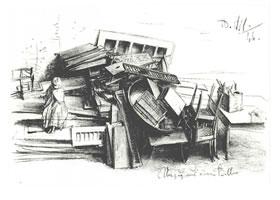门采尔《丢弃的家具》素描作品高清大图欣赏