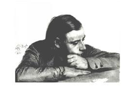 《门采尔的哥哥查理德》素描作品高清大图欣赏。