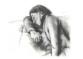 门采尔《睡觉的男子》素描作品高清大图欣赏
