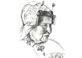 门采尔《戴帽子微笑的女子》素描作品高清大图欣赏