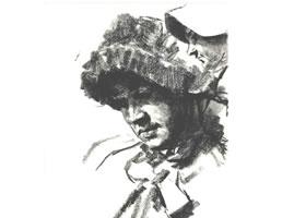 门采尔《低头戴帽子的女子》素描作品高清大图欣赏