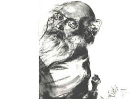 门采尔《戴眼镜的老人》素描作品高清大图欣赏