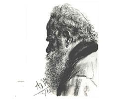 门采尔《低头的大胡子老人》素描作品高清大图欣赏