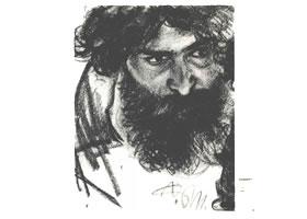 门采尔《低头凝视的男子》素描作品高清大图欣赏