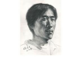 杨国杰青年男子侧面肖像素描画法