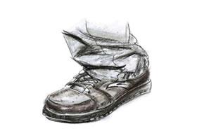 人物脚鞋速写线面结合的表现
