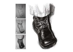 人物脚鞋速写光影的表现