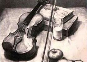 小提琴组合素描画法
