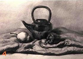 提梁壶组合素描画法