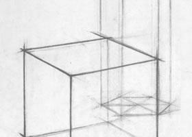正方体、和六棱柱体几何结构、透视作画导析