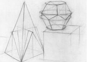 四棱锥体、圆锥体和圆柱体几何结构、透视作画导析