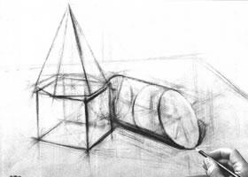 组合几何体素描以结构为主的作画步骤