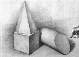 组合几何体素描以明暗为主的作画步骤