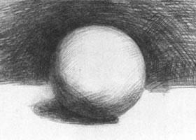 圆球体石膏几何体素描画法步骤图示