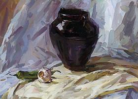黑罐的水粉画写生方法与步骤
