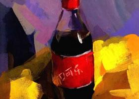 可乐瓶水粉画写生步骤