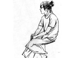 坐姿速写作画步骤分析(一)