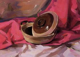 衬布和砂钵组合水粉画法