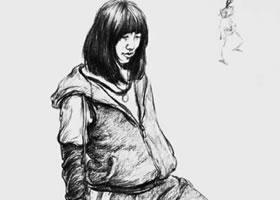 女青年站姿炭笔速写画法