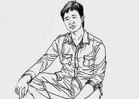 男青年坐姿秀丽笔速写画法