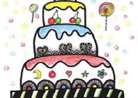 生日蛋糕装饰画作画步骤