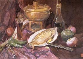 彭如华《晚餐》水彩画