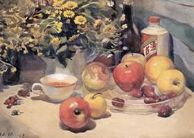 彭如华《灯光下的餐桌》水彩画