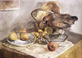 史涛《鸟标本静物组合》水彩画
