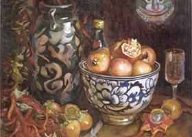 彭如华《蓝花碗》水彩画