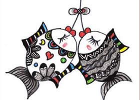 年年有鱼装饰画作画步骤