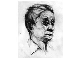 老年人头像结构素描画法