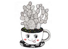 书桌上的小盆栽装饰画作画步骤图示