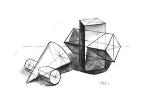 两个几何体组合的结构素描表现步骤
